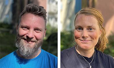 Kalle Skatt Söderström, kulturkoordinator Team Jämlikt i Östra Göteborg och Anna Ljungquist, enhetschef Sekelbo äldreboende. Foto: Kajsa Sandin.